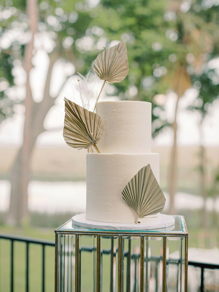 Two-Tier White Cake with Gold Leaf Accents