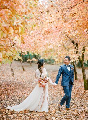 Romantic Couple During Fall at Nestldown in Los Gatos, California