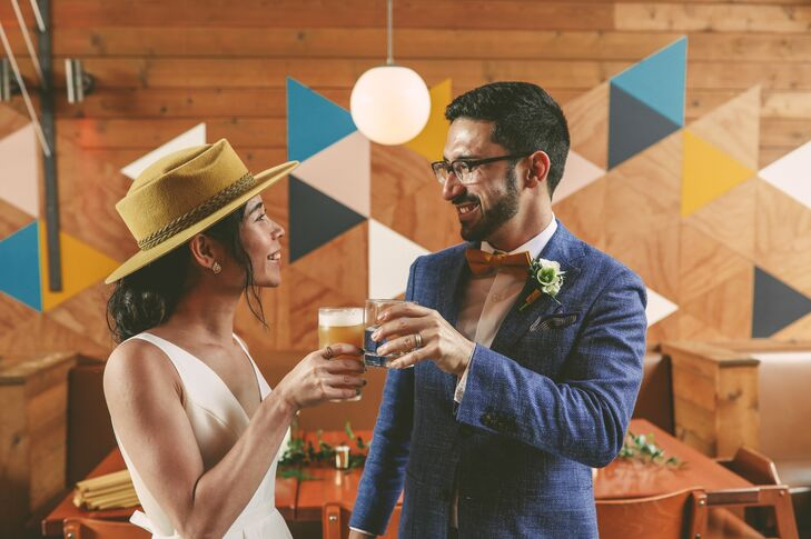Casual Groom and Bride with Mustard-Colored Hat