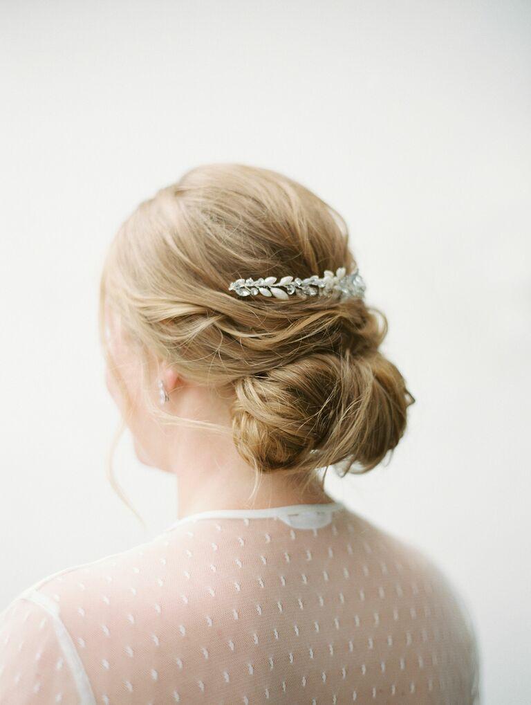 Wedding updo with barette