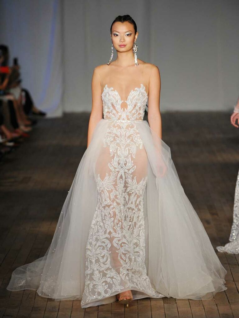 3708a94d40ca Berta Spring Summer 2019 Collection sheer lace wedding dress with  detachable tulle train