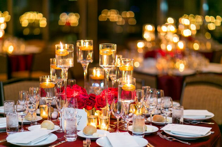 Red Rose Centerpiece With Red Linens