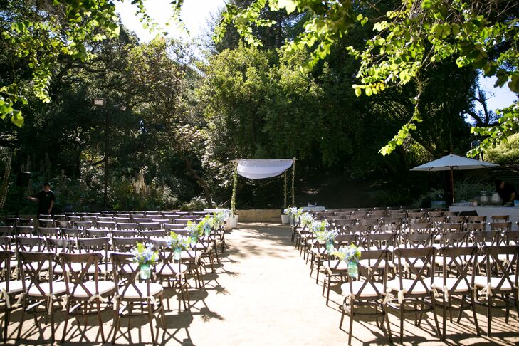 Kalya and Mike's ceremony took place under a traditional Jewish chuppah in the AIDS Memorial Grove in Golden Gate Park in San Francisco, California.