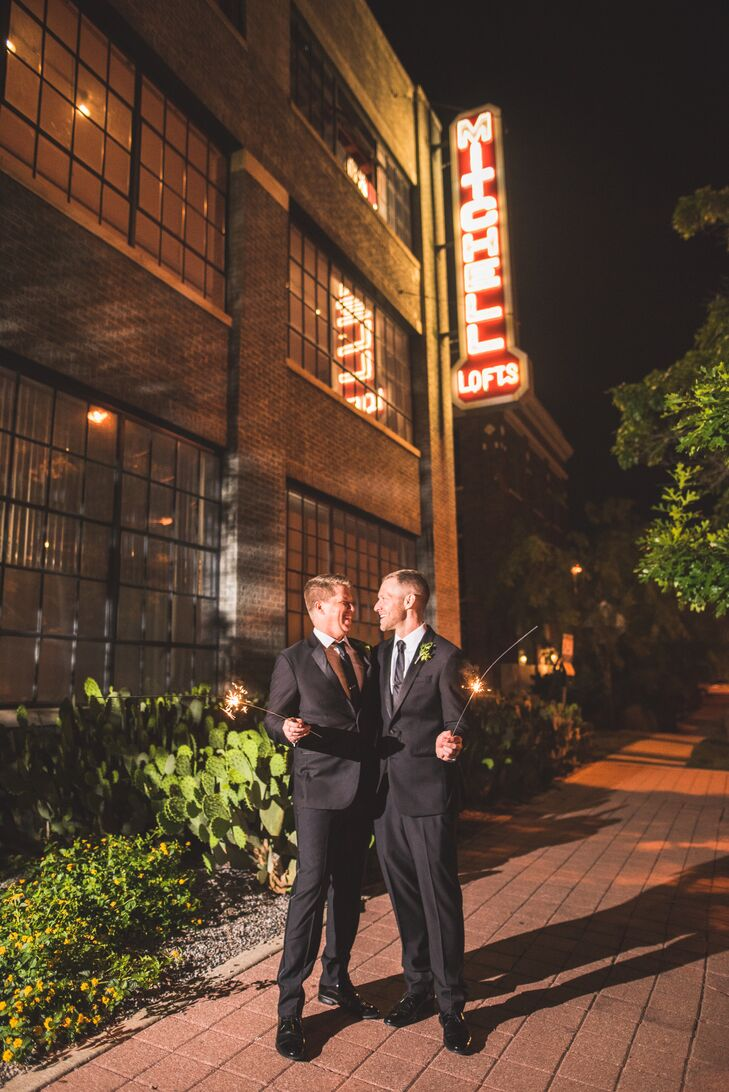 Same-Sex Couple with Sparklers Outside the Mitchell Lofts in Dallas, Texas