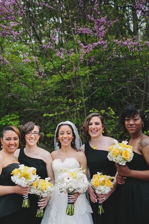 Black One-Shoulder Bridesmaid Dresses