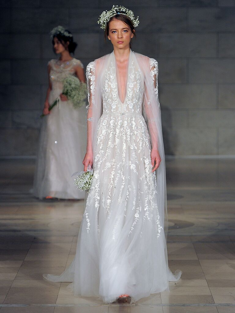 Reem Acra Fall 2018 halter embroidered wedding dress with jacket