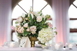 Roes, Hydrangea, Tulip Garden-Inspired Centerpieces