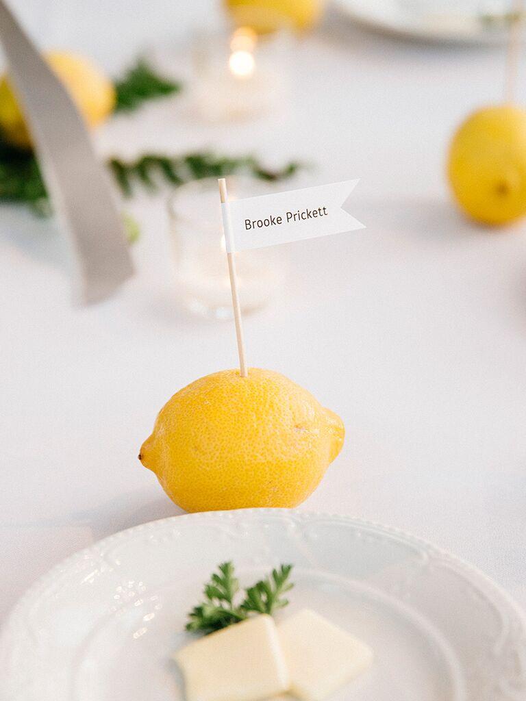 Bright lemon wedding reception place cards