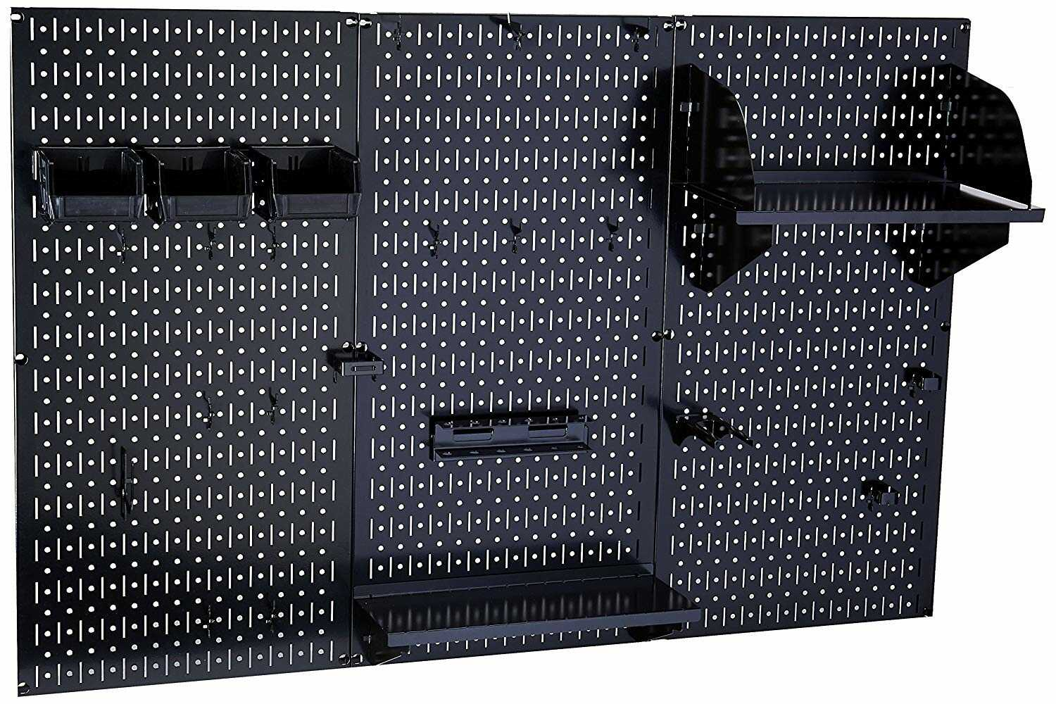Black model pegboard with trays, bins, shelves attached