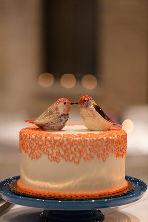 Small Orange Wedding Cake with Bird Centerpiece