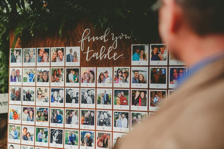 """Our seating chart was a board of Polaroid-style photos we secretly collected of each guest,"" Crystal says. ""Thanks, social media!"""