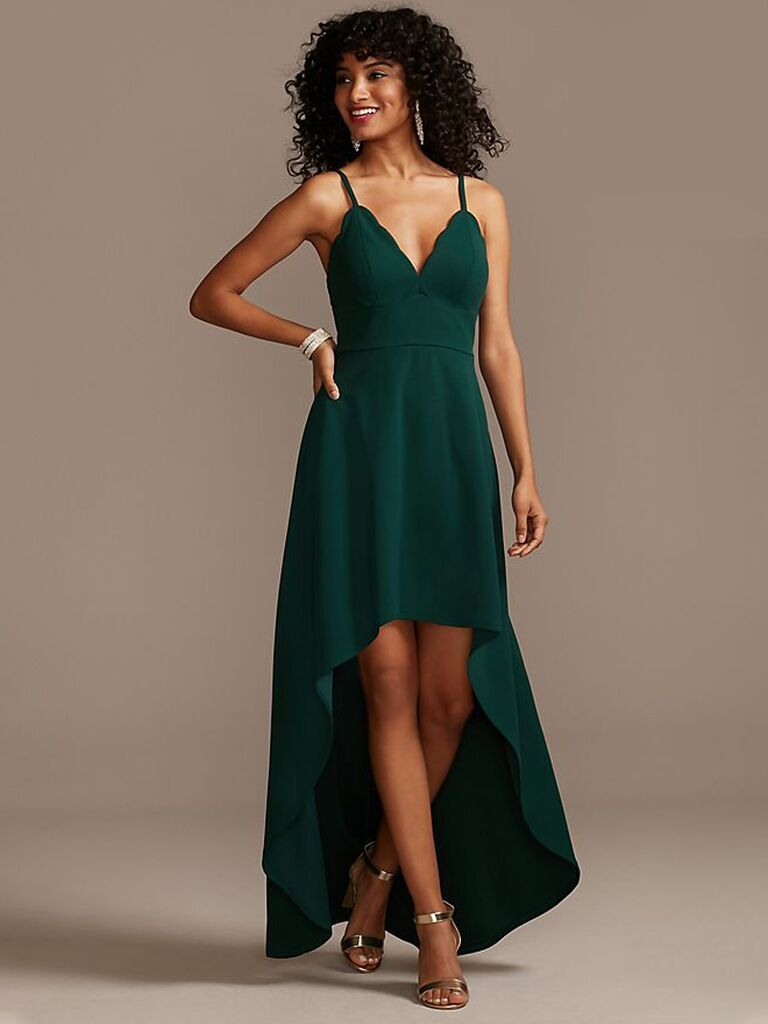 Green scalloped bridesmaid dress under $100