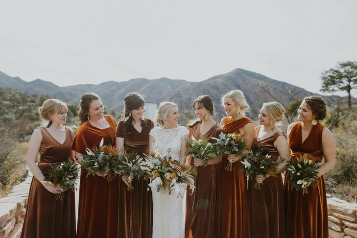 Wedding Party in Velvet Dresses at Texas Wedding