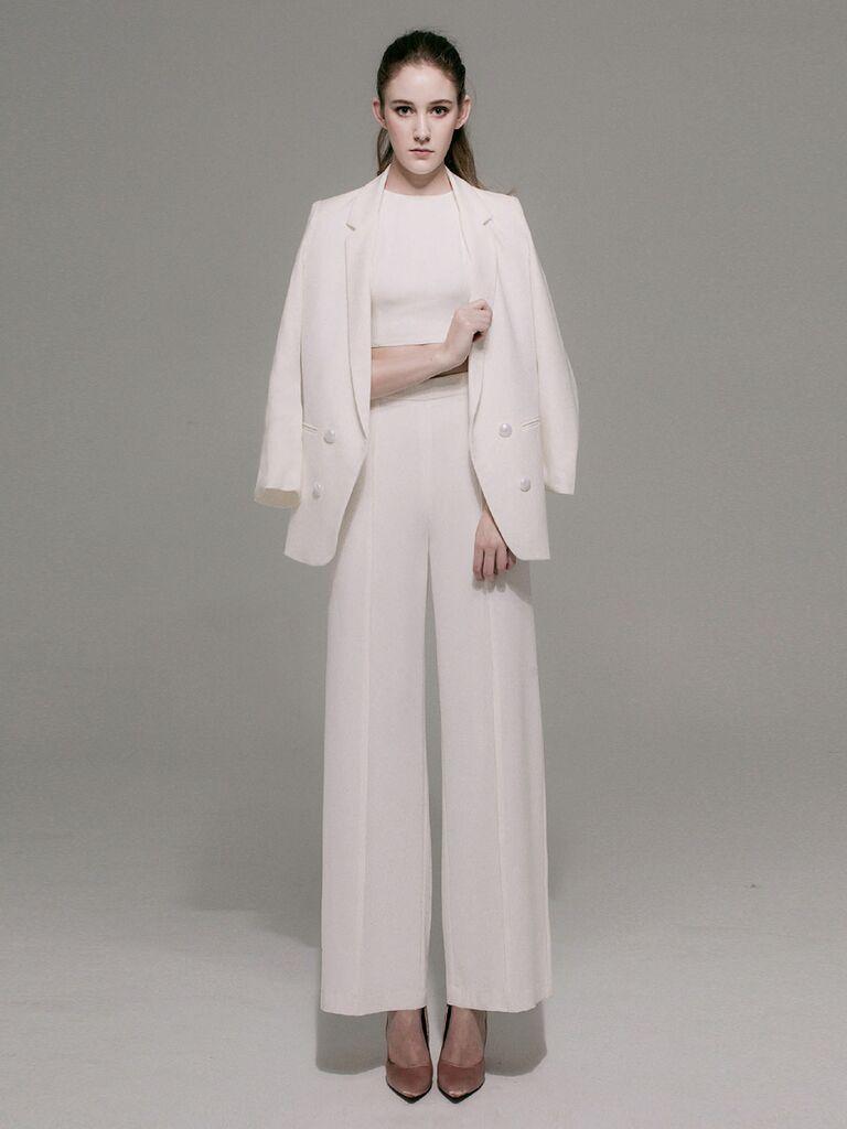 three piece wedding pantsuit
