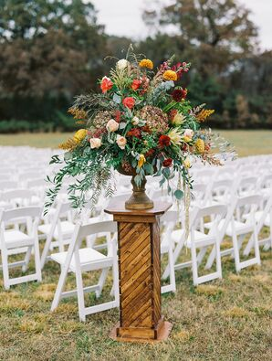 Cascading Fall Floral Arrangement on a Wood Pedestal