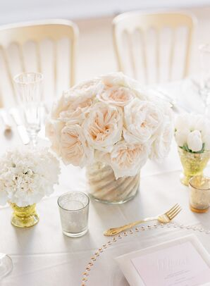 White Garden Rose Classic Wedding Centerpieces