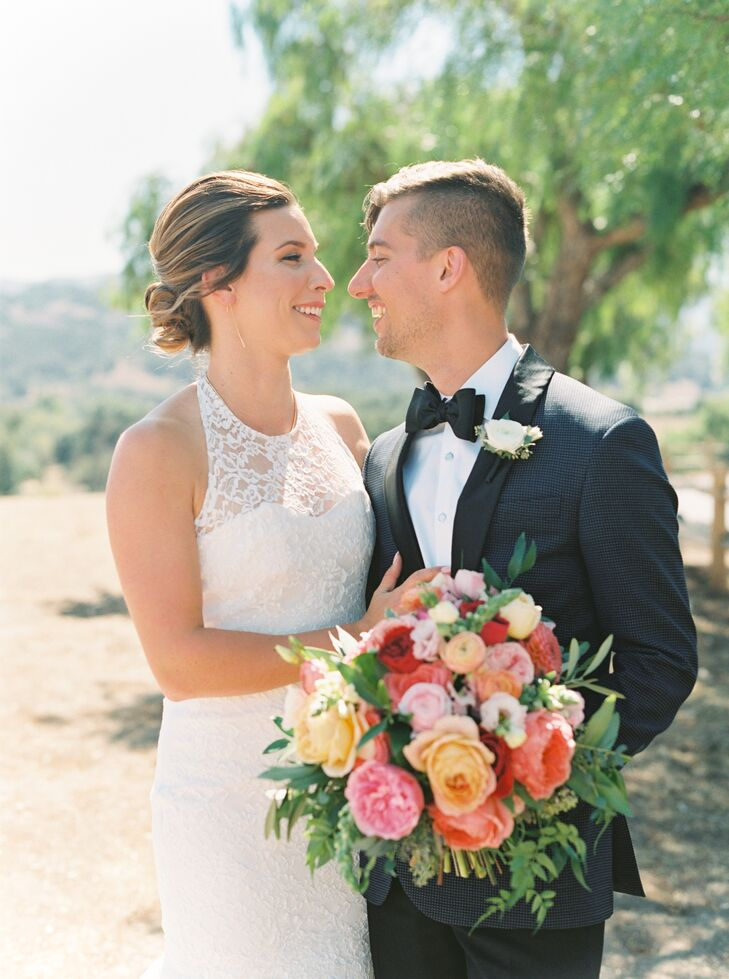 Classic Bride and Groom with Formal Wedding Attire