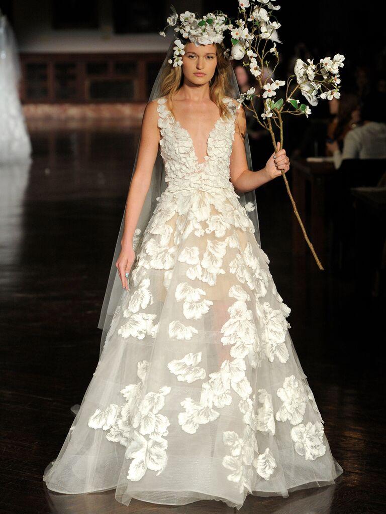 Reem Acra Spring 2019 sheer wedding dress with floral appliqués