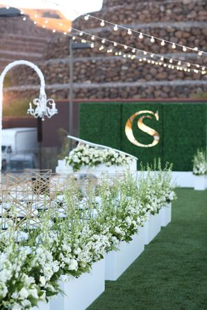 Aisle Decorations with White Flowers and Pampas Grass