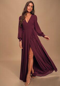 Lulus My Whole Heart Plum Long Sleeve Wrap Dress V-Neck Bridesmaid Dress