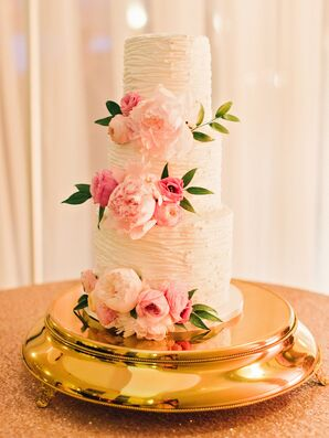 Round Textured Buttercream Wedding Cake With Blush Flowers