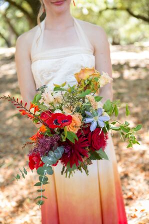 Bright, Naturalistic Bouquet With Red and Yellow