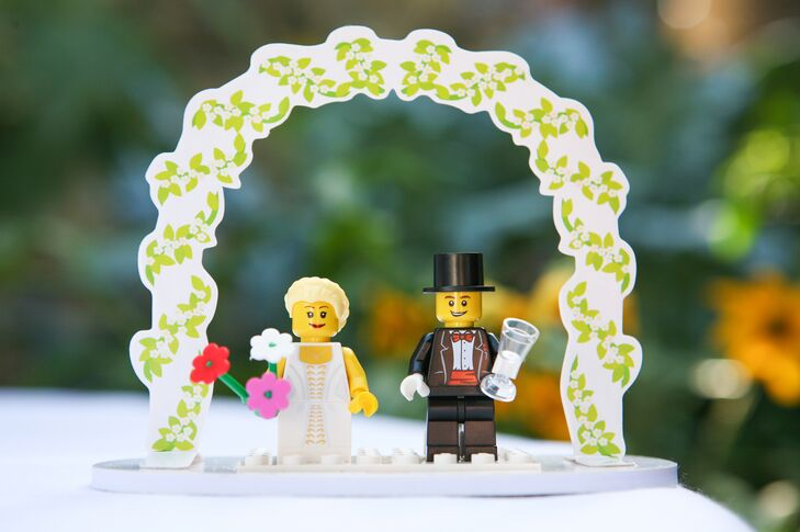 Plastic Lego's depicting a bride and groom were seen throughout the reception at Arnoldi's Cafe in Santa Barbara.