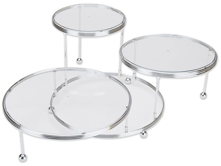Tiered silver wedding cake stand