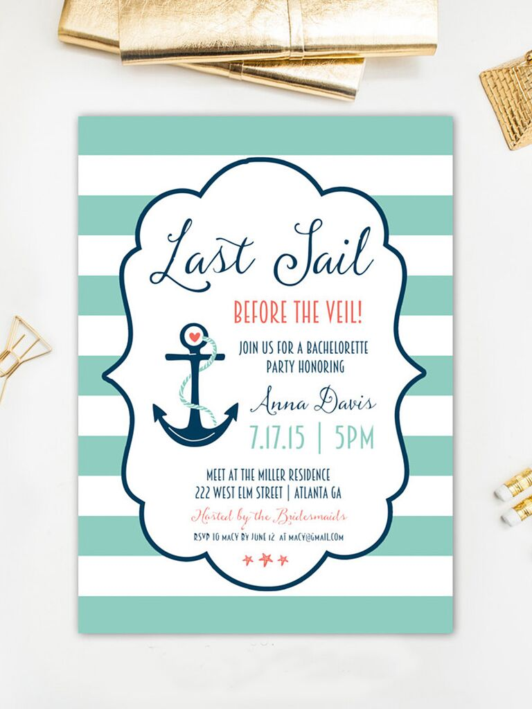 Nautical Bachelorette Party Printable Invitaiton Template