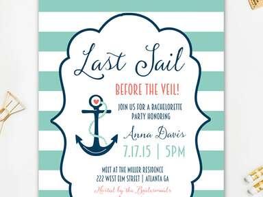 Nautical bachelorette party printable invitaiton template