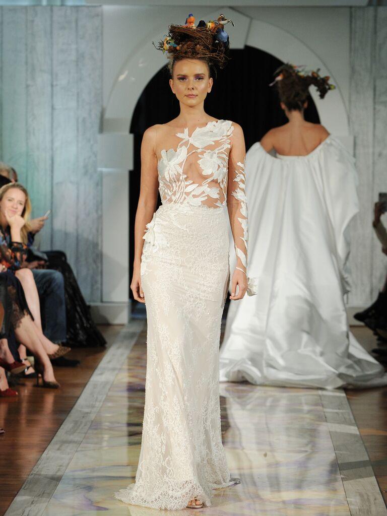 Dany Mizrachi Fall 2019 one-shoulder illusion wedding dress