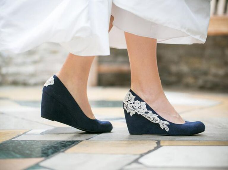 Walkin On Air navy blue wedding wedges with ivory lace