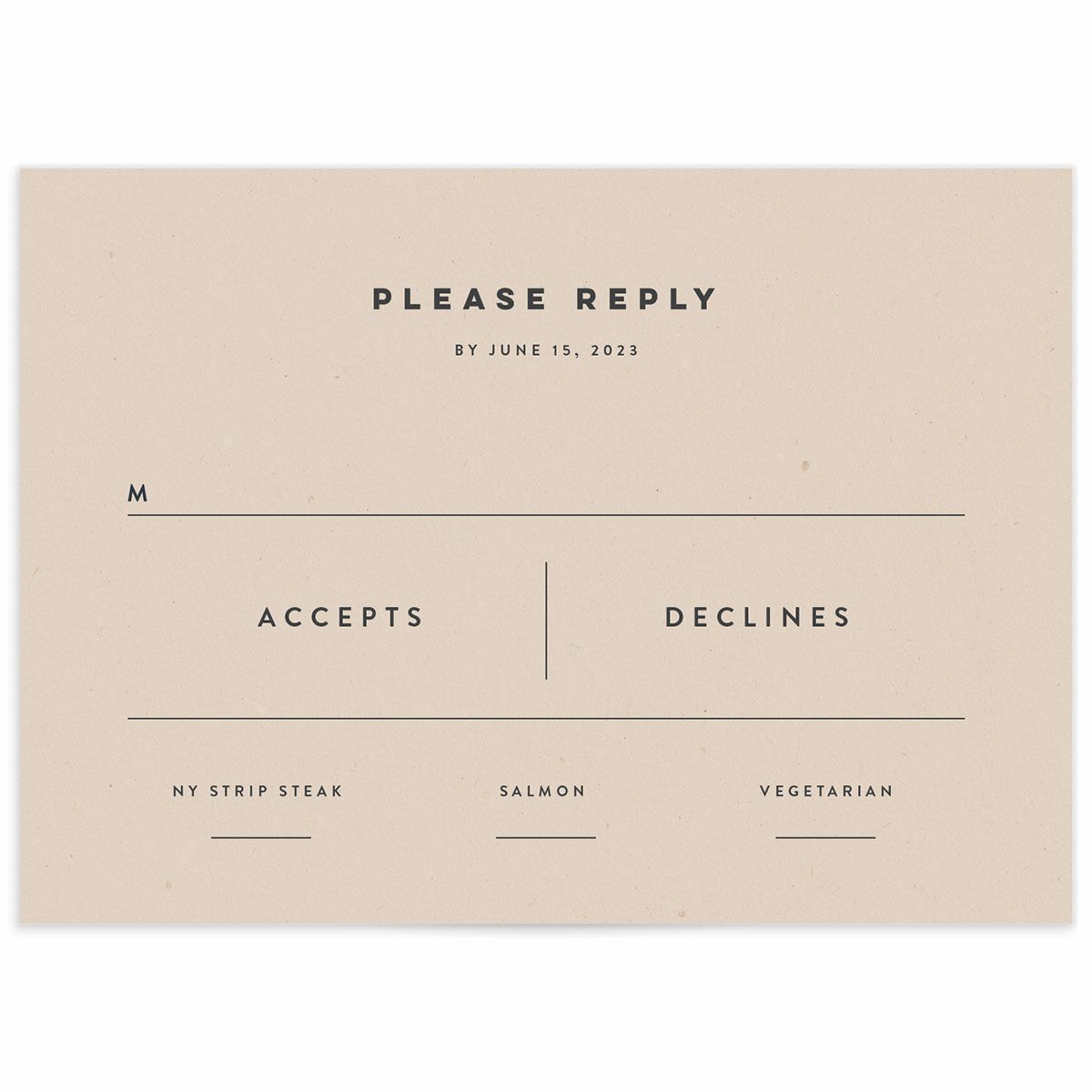 A Wedding Response Card from the Modern Palm Collection