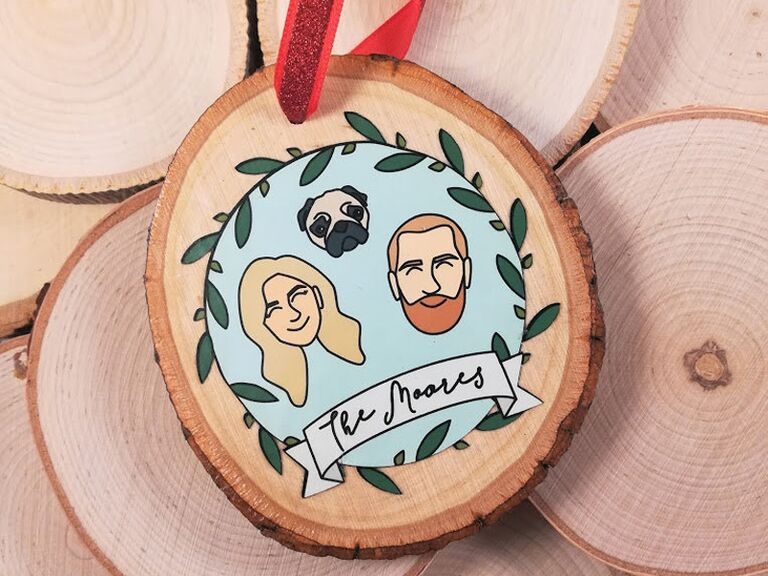 Couple portrait Christmas ornament gift for daughter-in-law