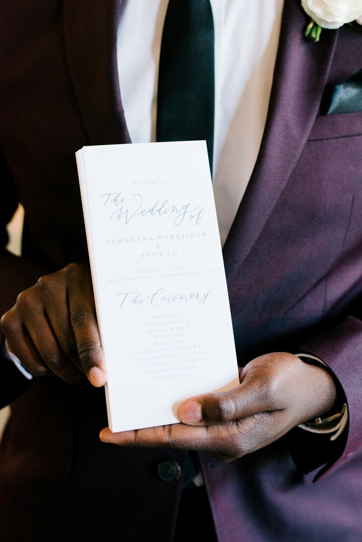 Programs for Wedding at Machine Shop in Minneapolis, Minnesota