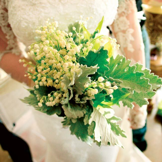 Rebecca chose a bouquet composed of lily of the valley because she loved the classic look of the arrangement.