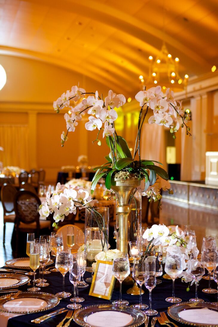 White Orchid Centerpieces With Gold Accents