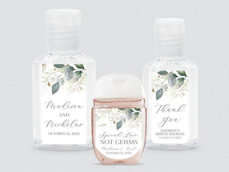 Custom wedding hand sanitizer labels