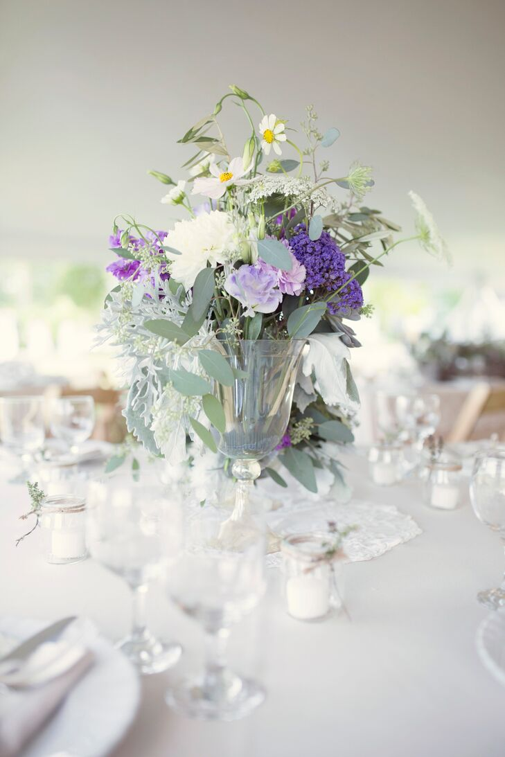Lavender Floral Centerpieces with Glass Vases