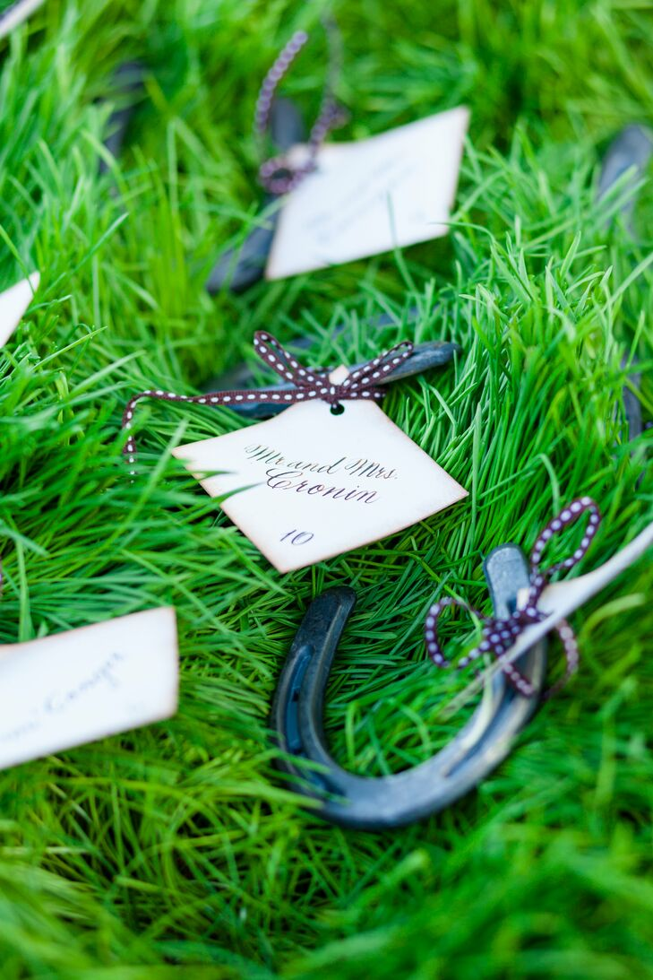 Simple cards were tied to mini horseshoes and then displayed in a box of wheatgrass.