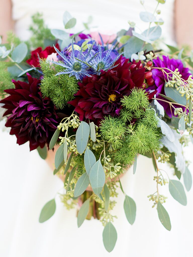 Wildflower bouquets the best wildflower bouquets from real weddings dahlias and cornflower wildflower wedding bouquet izmirmasajfo