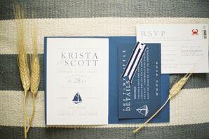 Navy Nautical Wedding Invitations