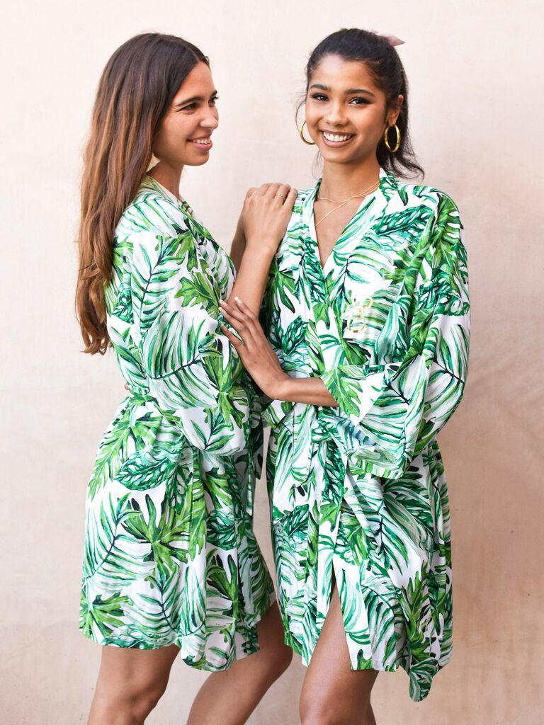 tropical cotton bridesmaid robe
