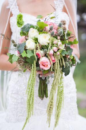 DIY Pink, Green and White Bridal Bouquet