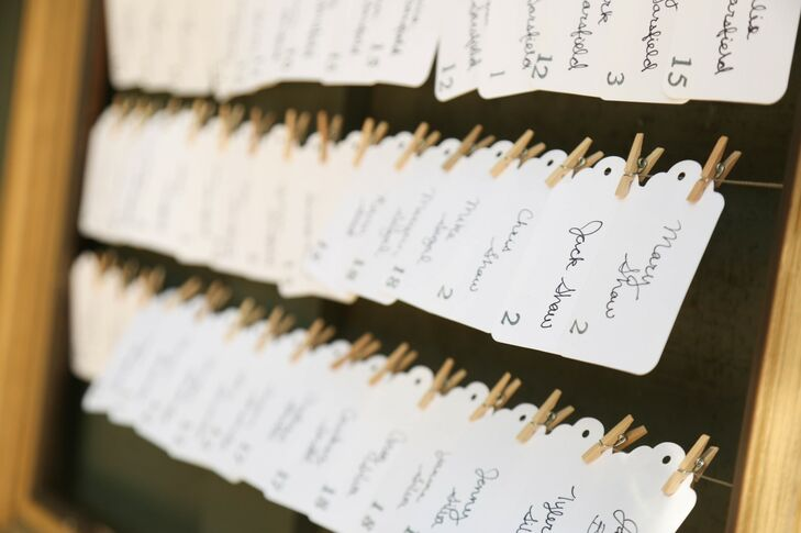 Simple white escort cards with the names of guests and table numbers were pinned to wire for guests to find their seats.