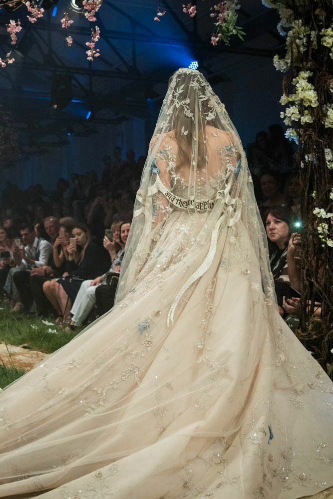 Paolo Sebastian Disney gowns embroidered veil and train