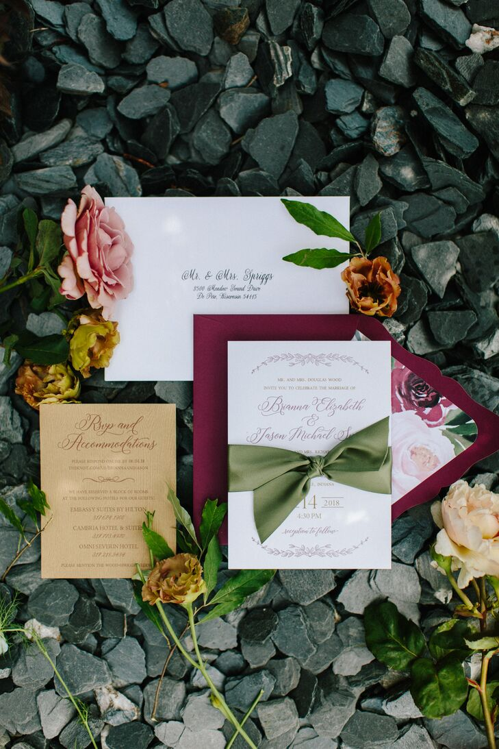 Classic Vineyard-Themed Invitations Tied With Green Ribbon