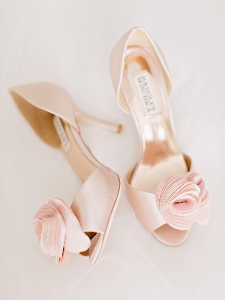 78e519df556 Blush Pink Bridal Heels With Floral Applique