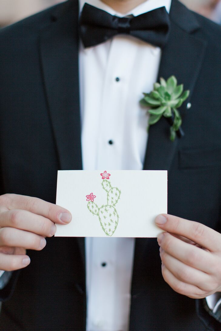 """""""Succulents were a must,"""" Kelsey says. """"Those were actually the groomsmen boutonnieres with some jasmine vines. I love the timeless look of tuxedos, so it was a simple choice to go with the traditional black tuxedo with suspenders."""""""