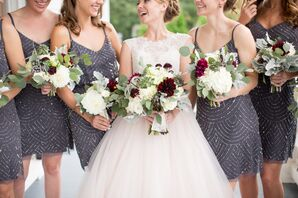 Gray-Beaded Bridesmaid Dresses